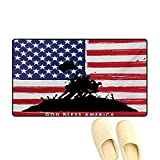 """Doormat,Bless America Silhouettes of American USA Flag Background Valor Patriot Theme,Bath Mat for Tub Bathroom Mat,Black and Red,16""""x24"""""""