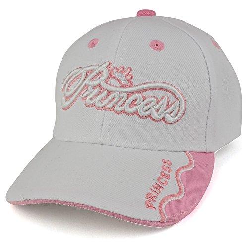 Trendy Apparel Shop Infant Size Princess 3D Embroidered Adjustable Baseball Cap - White/Pink