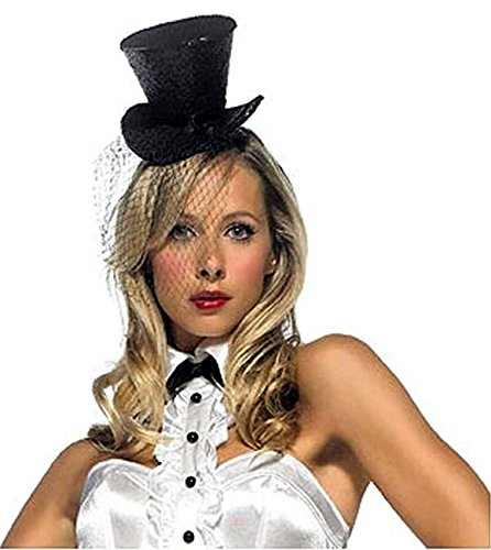 Leg Avenue Mini Top Hat With Veil, Black, One Size ()