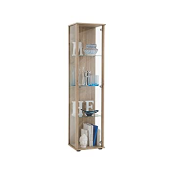 FMD Glass Display Cabinet Bora 1, 42.0 X 171.0 X 36.0 Cm, Oak