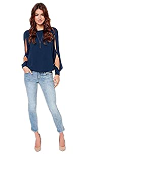 VESNIBA Fashion Women Loose Long-sleeved Chiffon Casual Blouse Shirt Tops (M, Dark Blue)