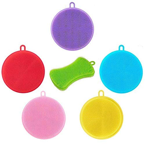 Antibacterial Silicone Scrubber Non Stick Dishwashing Brush Sponge 6 pack