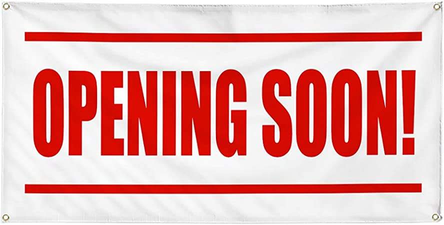 Vinyl Banner Multiple Sizes Hair Salon Coming Soon Red Blue Business Outdoor Weatherproof Industrial Yard Signs 8 Grommets 48x96Inches