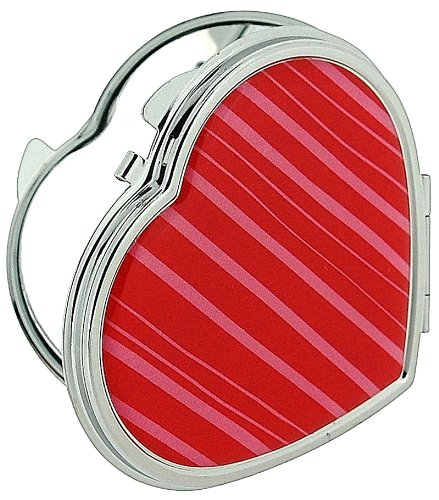 Compact Mirror Heart Shaped Silver Plated With Magnification Mirror (Stripes) ()