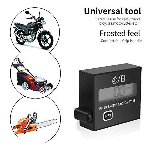 Ganmek TachometerDigital Engine TachSpark Plugs Engine Digital Tach MeterSmall Motorcycle Tachometer with Digital Display Timer Gauge for Small Gasoline Engines Lawn Mower decent