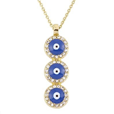 RUXIANG Three Disc Crystal Enamel Evil Eye Pendant Necklace Jewelry (gold) c36360ca44