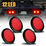 AMBOTHER 4'' Round 12-LED Truck Trailer Brake Stop Turn Marker Tail Light Flush Mount Back-Up Low Profile Light, Waterproof Tight Sealed Grommet Plug for RV Boat Truck Trailer Red DC 12V (Pack of 4)
