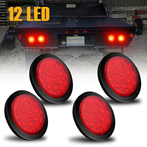 AMBOTHER 4'' Round 12-LED Truck Trailer Brake Stop Turn Marker Tail Light Flush Mount Back-Up Low Profile Light, Waterproof Tight Sealed Grommet Plug for RV Boat Truck Trailer Red DC ()