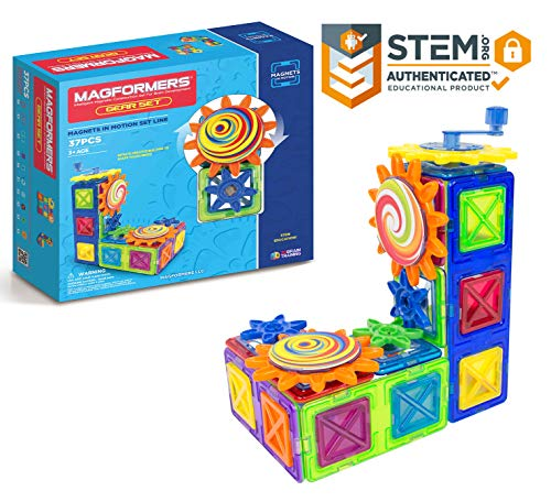 (Magformers Magnets in Motion Set (37-pieces) Magnetic    Building      Blocks, Educational  Magnetic    Tiles Kit , Magnetic    Construction  STEM gear science Toy Set)
