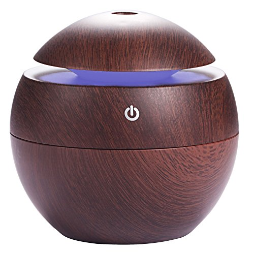 Cool Mist Humidifier, PEMOTech 130ML Ultrasonic USB Essential Oil Humidifier, 7 Colorful LED Lights, Waterless Auto Off, Wood Grain, Portable Mini Aroma Diffuser for Car, Office and Bedroom by PEMOTech