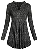 SeSe Code Ladies Tops and Blouses Women's Long Sleeve Henley Slender Breathable Shirt A-line Flared Hemline Button Graceful Chic Tunic Dye Black XL