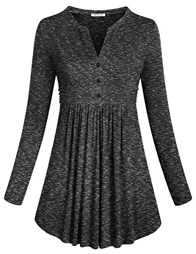 Feminine Knit Top (Long Sleeve Shirts ,SeSe Code Women's Plain Long Sleeve V Neck Trendy Peplum Pleated Flowing Charming Knit Stretch Feminine Jersey Tunic Tops Dye Black XXL)