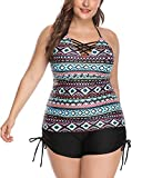Women 2 Pieces Plus Size Tribal V-Neckline Lace Up Halter Tankini Top with Boyshort Swimsuit Blue 2X