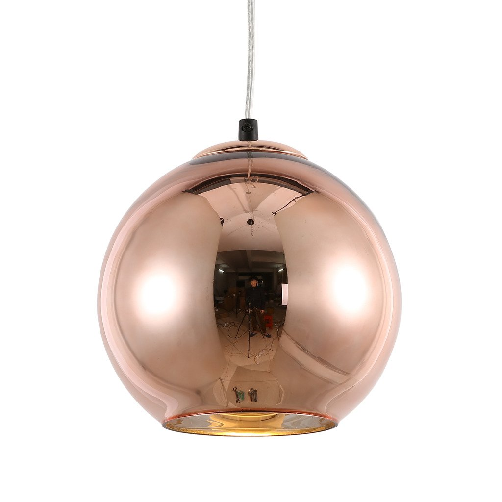 mirrea Modern Kitchen Island Lighting Mini Globe Pendant Light 1 Light in Copper Globe Shade