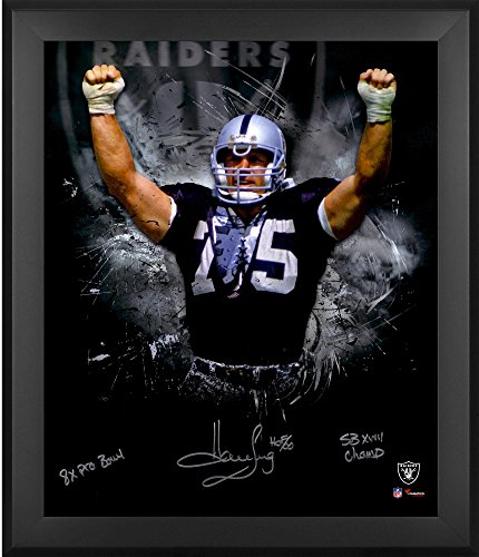 Howie Long Oakland Raiders Framed Autographed 20 X 24 In Focus Photograph With Multiple Inscription   Limited Edition  2 23 Of 24   Fanatics Authentic Certified