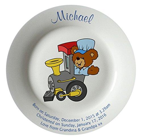 Personalized Birth Plate with a Plain Rim - Train Design