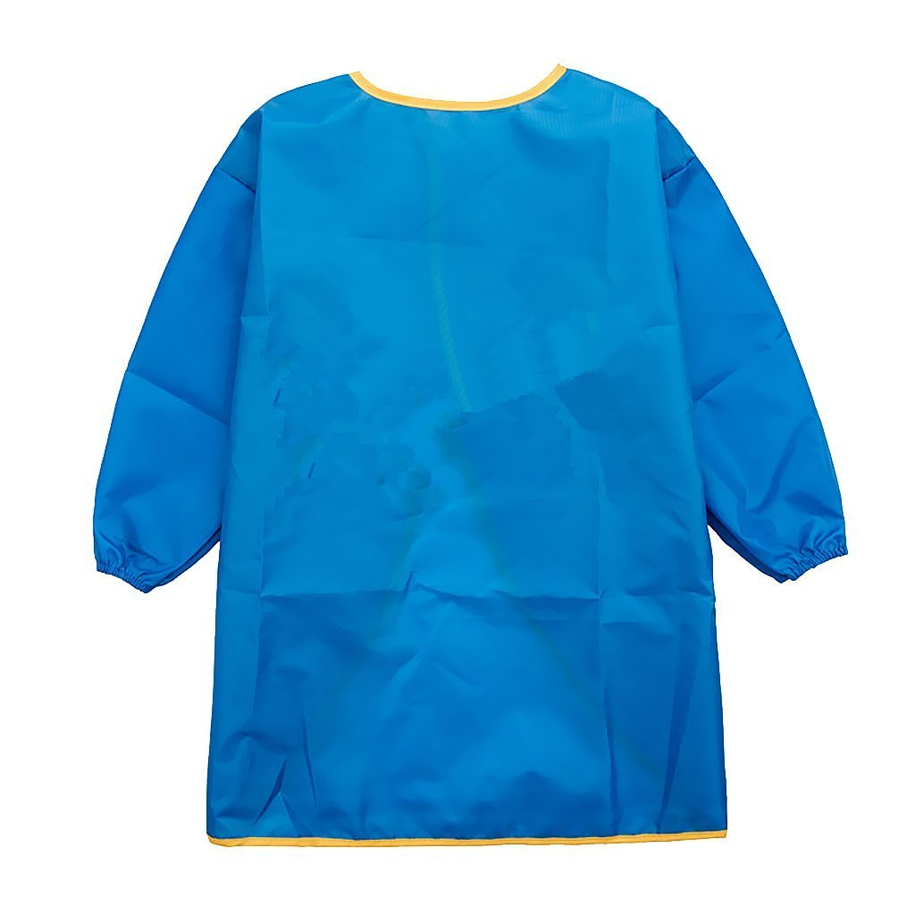 Kids Child Long Sleeve Apron Waterproof Art Craft Smock for School, Painting Classroom, Home and Kitchen (Blue, S) Yundxi
