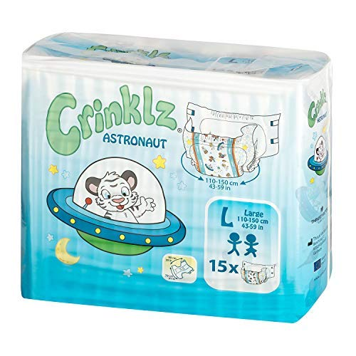 Crinklz Astronaut Adult Diapers | Large | ABDL | Printed Diapers 15 Diapers