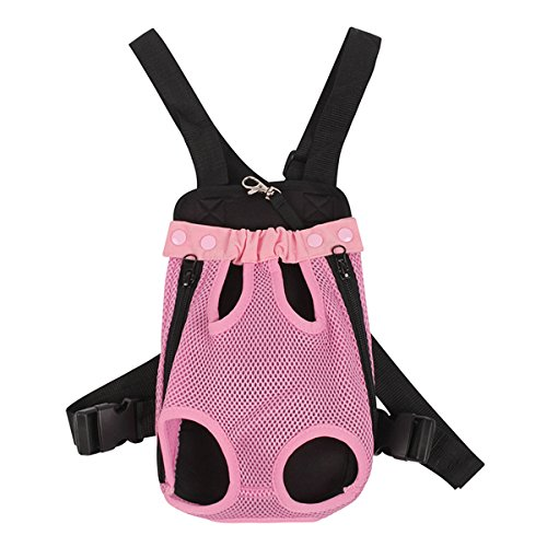 Pack Dominoes (CL Domino Polyester Fibre Material Small Dog Front Carrier pet Legs Out Backpack Carrier Medium Size, Pink)