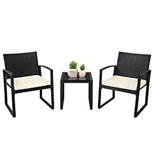 SUNCROWN Outdoor Furniture 3 Piece Patio Bistro Set Black Wicker Chairs with Beige-White Cushions and Glass Top Coffee Table, Black