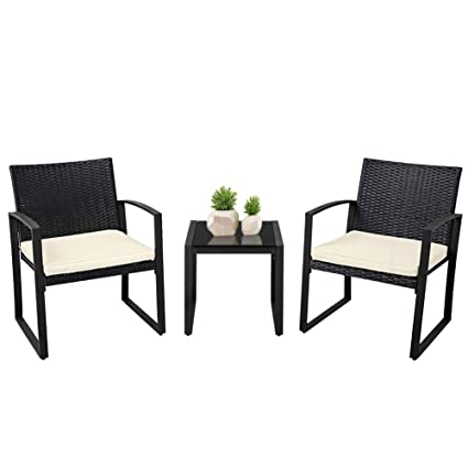 Awesome Suncrown Outdoor Furniture 3 Piece Patio Bistro Set Black Wicker Chairs With Beige White Cushions And Glass Top Coffee Table Black Inzonedesignstudio Interior Chair Design Inzonedesignstudiocom