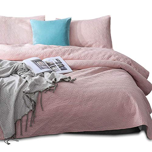 KASENTEX Coverlet Quilt Set-Pre Washed-Luxury Microfiber Soft Warm Bedding-Solid Colors Bedspread-Contemporary Design (Blush Pink Star, Oversized King + 2 King Shams) ()