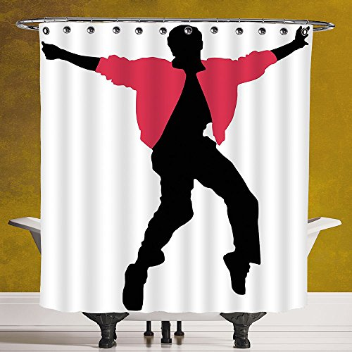 - SCOCICI Durable Shower Curtain 3.0 by [Elvis Presley Decor,American Artist King Icon Blues Performer Singer Silhouette,Dark Coral Black White ] Bathroom Accessories with Hooks