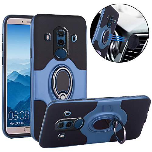 Price comparison product image Huawei Mate 10 Pro Case, Slim Drop Protection Cover, IMPROVED Ring Grip Holder Stand, Back Magnetic Circle With Air Vent Magnetic Car Vent Mount For Huawei Mate 10 Pro - Metallic Blue