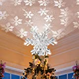 MILACA Christmas Tree Star Topper Light with LED Snowflake Projector Lights, Lighted Snowflake Tree Topper for Christmas Tree Decorations