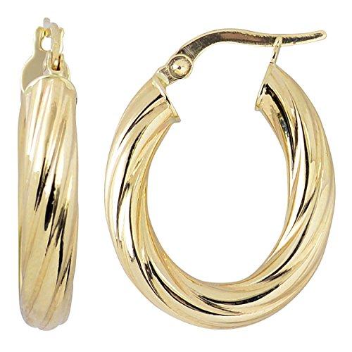 (Kooljewelry 10k Yellow Gold 3.75 mm Swirl Design Oval Hoop Earrings)
