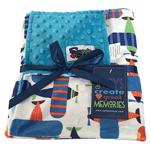 Unisex Baby Reversible Minky Dot Stroller Blanket (Choose Color) (Airplane/Turquoise)