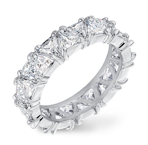 Contemporary Trillion Ring (Samie Collection 6.44ctw Trillion CZ Eternity Wedding Band Rings in Gold / Rhodium Plating)