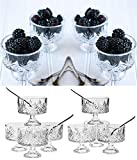 Le'raze Set of 8 Crystal Clear Glass 6 Ounce Dessert Ice Cream/Fruit Bowls, with 8 Taster Spoons, 16 -Piece Tasters Trifle Honey Tinis Dessert Bowl Set