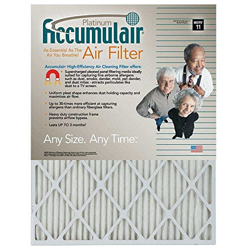Filters Now.Com FA16X25-4 Accumulair Platinum Furnace Air Filter, 16 x 25 x 1-in, 4-pack Genuine Original Equipment Manufacturer (OEM) part by Filters Now.Com