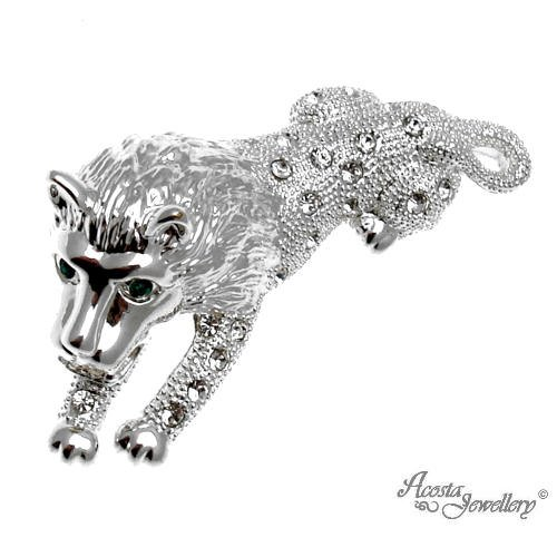 Acosta Gift Boxed Leo Star Sign Lion Brooch Silver Coloured with Crystal