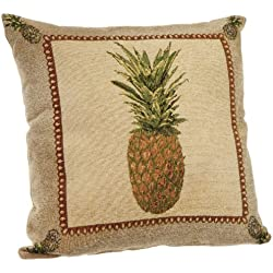 Brentwood Panama Jacquard Chenille 18-by-18-inch Knife Edge Decorative Pillow, Pineapple