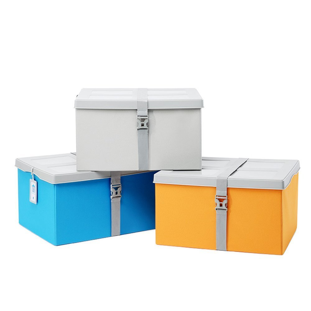 HOMEE Sofa stool- finishing the storage box there is a plastic cover folding stool extra large damp clothes storage stool banded stool (4 colors optional) (50 38 28cm) --storage stool,D by HOMEE (Image #1)