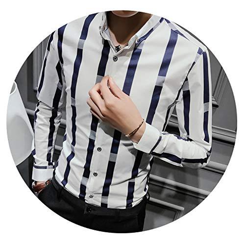 (Autumn Wide Stripe Shirt Men Fashion Slim Fit Male Casual Social,White,Asia M 52 to 57kg)