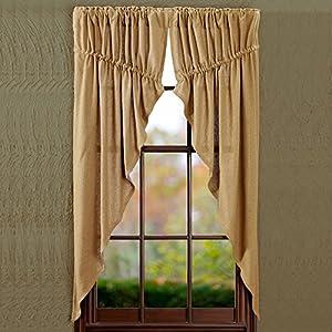 Amazon.com: Burlap Natural Prairie Curtain Window Treatments Set of 2, 63x36x18quot; each For