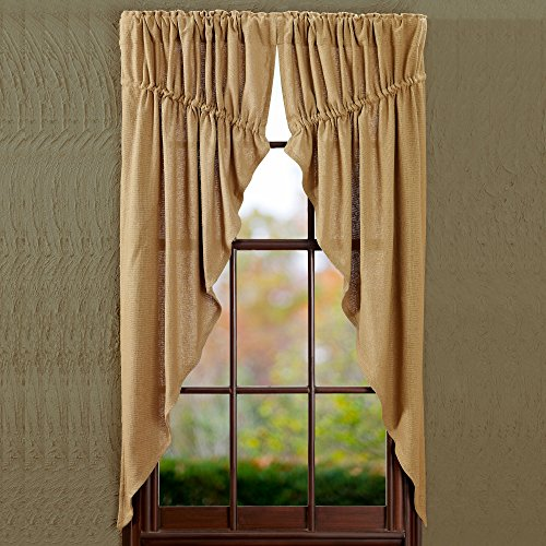 Burlap Natural Prairie Curtain Window Treatments (Set of 2, 63x36x18' each) - For Living Room