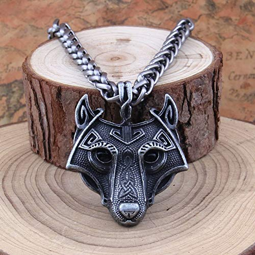 Moonnight Store 1pcs Norse Vikings Pendant Necklace Norse Wolf Head Necklace Original Animal Jewelry Wolf Head hange