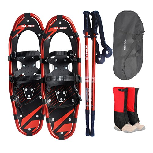 Flashtek Snowshoes for men and women, Light Weight Aluminum Terrain Snowshoes + Pair Anti-Shock Adjustable Snowshoeing Pole + Gaiter (Red, 21'')