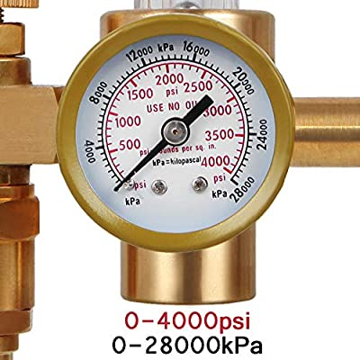 BETOOLL Argon/CO2 MIG TIG Flow meter Gas Regulator Gauge 0-60 SCFH 0-4500 Psi CGA580 Inlet Connection