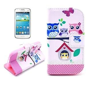 Owl Pattern Leather Case Cover Funda con bolsillos interiores & Holder para Samsung Galaxy Core i8262