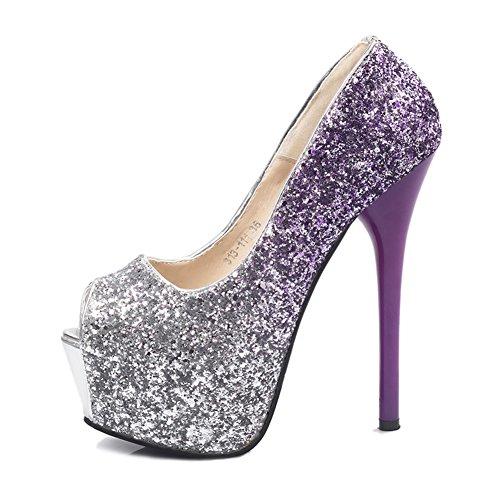 Vrouwen Glitter Peep-toe Platform Hoge Hak Stiletto Jurk Bruiloft Pump Schoenen Paars Us Maat 4