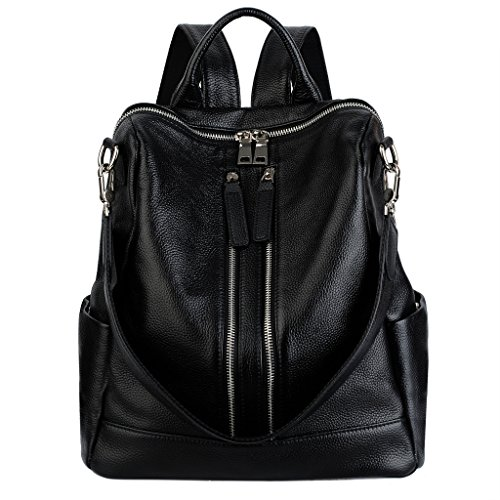 YALUXE Women's Convertible Real Leather Backpack Versatile Shoulder Bag (Upgraded 2.0) Black