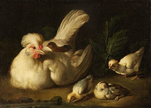 Wall Art Print Entitled Jakob Samuel Beck, Hen with Chicks by Celestial Images | 22 x 16