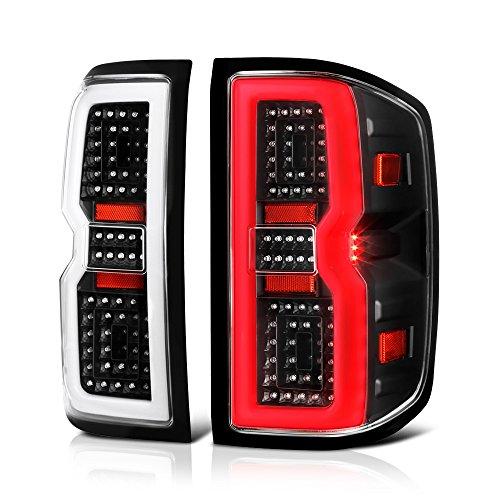 - VIPMOTOZ OLED Tube Black Housing LED Tail Light Lamp Assembly For 2014-2018 Chevy Silverado 1500 2500HD 3500HD Incandescent Model, Driver & Passenger Side