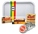 Bundle - 11 Items - Raw Natural 1 1/4 Cigarette Rolling Papers (4 Packs), RAW Pre-Rolled Tips (3 Packs), RAW 79mm Roller and Rolling Paper Depot Rolling Tray (Frost Racer), Grinder and Doob Tube
