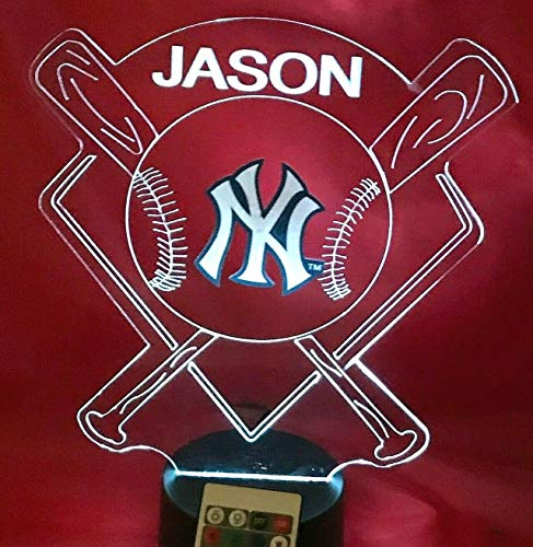 Yankees MLB Light Up Lamp LED Personalized Free New York Baseball Light Up NY Night Table Lamp Illusion, Our Newest Feature - It's WOW, With Remote, 16 Color Options, Dimmer, Free Engraved, Great Gift